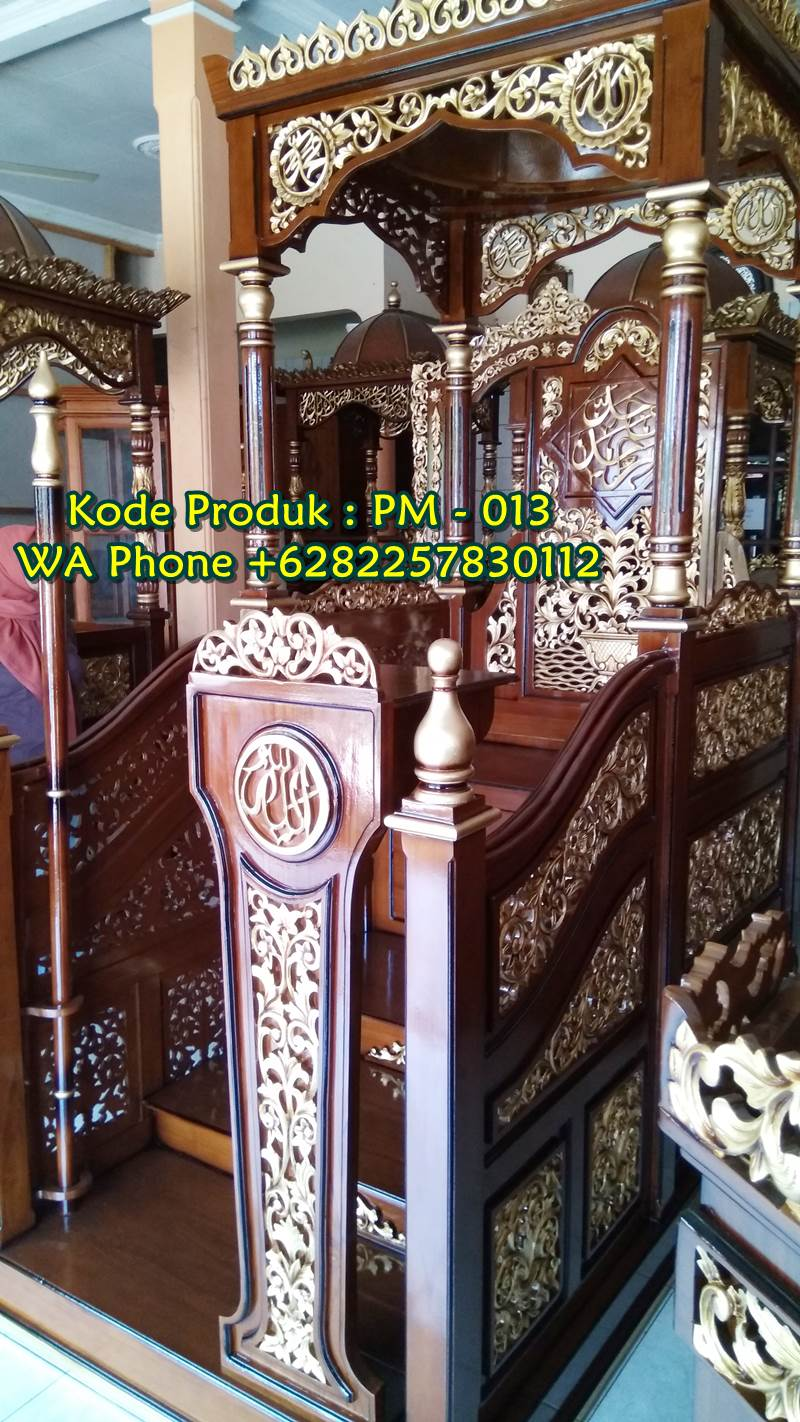 Podium Mimbar Ukiran Terbaru Finishing Glossy
