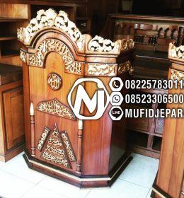 Podium Musholla Ukir Terbaru Finishing Natural